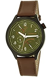 Morphic Men's 'M44 Series Dual Time Zone Strap Date' Quartz Stainless Steel and Leather Watch, Color:Brown (Model: MPH4406)