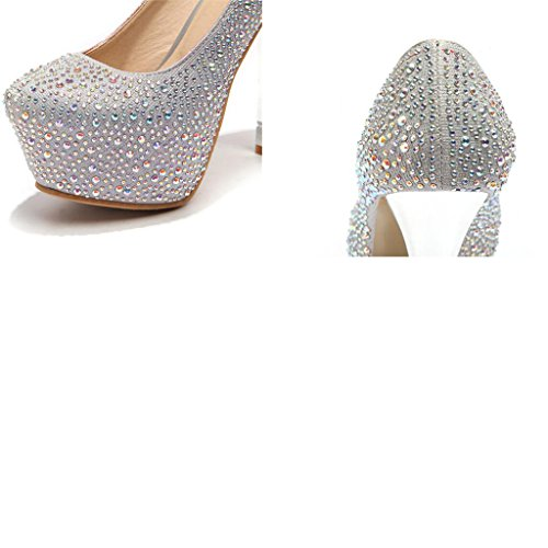 Head Round Rhinestone Shoes Shallow Fine Women's Shoes Sequins Mouth Heels Silver 13cm Heel Uppers High wgIqxzfdzX