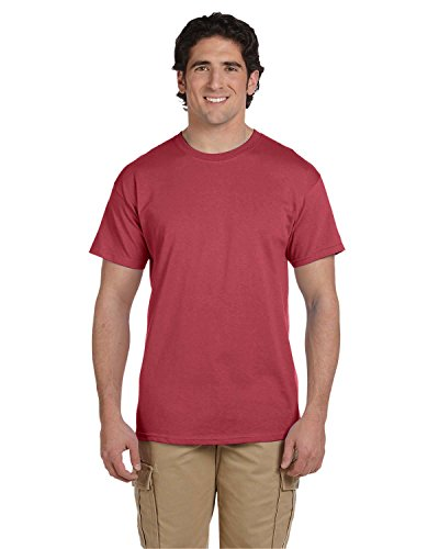 (Fruit of the Loom 5 Oz, 100% Heavy Cotton HD T-Shirt, Large, Crimson )