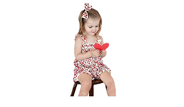 Xmas White Cherry Chiffon Romper Jumpsuit Bow Baby Set Nb-3y