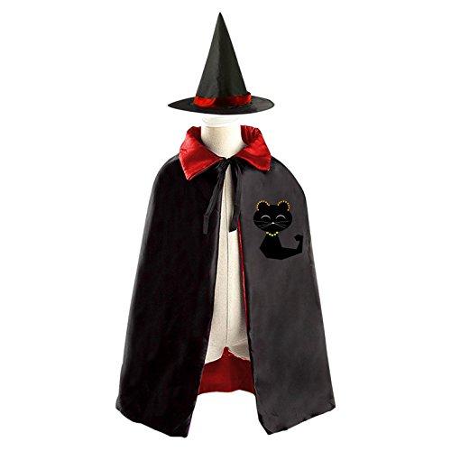 Black Cat Halloween Cloak Dress Costume set Cape Witcher Hat for Girls Boys