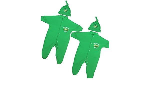 Babyprem Bebé Jueglo de 2 Piezas Pijama Sombrero Ropa Gemelos Niña Niños Verde 68-74cm 6-9 Meses: Amazon.es: Ropa y accesorios