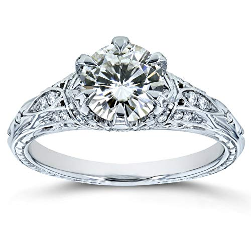 Moissanite (HI) and Diamond 6-Prong Antique Engagement Ring 1 1/6 CTW 14k White Gold, 7.5