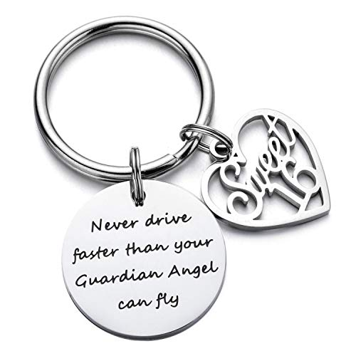 ODLADM Birthday Keychain for 16th 18th 21th 30th 40th 50th 60th Birthday Gift Jewelry for Women Mens (16th Birthday Gifts) (Guardian Angel Charms For Men)