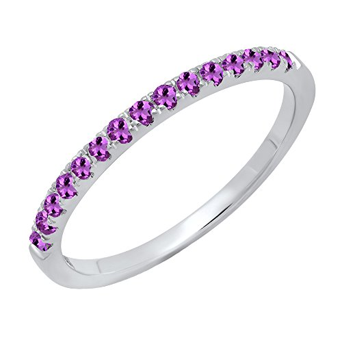 Dazzlingrock Collection 14K Round Amethyst Ladies Bridal Stackable Wedding Band 1/4 CT, White Gold, Size 8