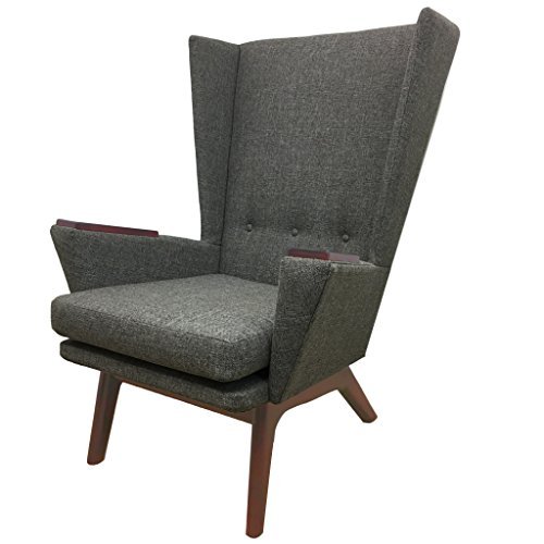Gray Upholstered Tall Wingback Lounge Chair Lewis Tall Lounger (LTL) Modern Contemporary MCM Retro Mid Century Modern Lewis Interiors Handcrafted Custom Grey Room Accent Custom Upholstered Furniture