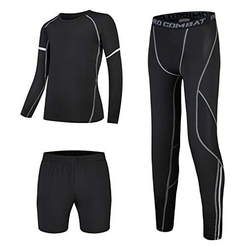 Doin Youth Boy Compression Base Layer Athletic Legging Long Sleeve Shirt with Shorts Set of 3pcs