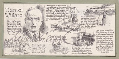 ILLUSTRATED BIOGRAPHY MOUNTED ON A CARD SIGNED BY PRESIDENT OF THE B&O RAILROAD DANIEL WILLARD.