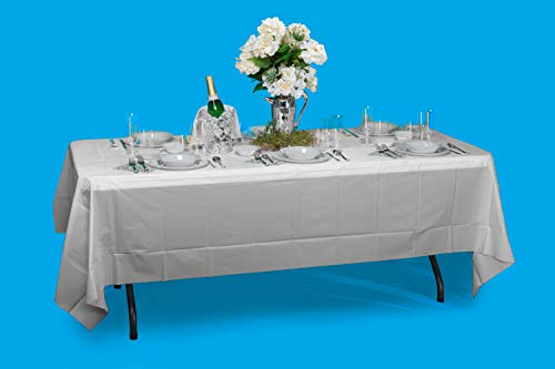 Exquisite 12-Pack Premium Plastic Tablecloth 54 Inch. x 108 Inch. Rectangle Table Cover-White - Premium quality protection: This 12 pack of 54 in. X 108 in. Rectangle White plastic tablecloths will cover any table up to 8 feet. Unlike your typical paper Table clothes these disposable table covers for parties are spill and waterproof! ! ! High opacity: covers any Table with minimal transparency. Great plastic Tablecloth For parties, weddings, holiday party, birthday parties, Christmas, thanksgiving dinner, BBQ, and any other color themed event. Disposable: disposable works! When the party is over, cleanup is easy - just Roll up the disposable tablecloth and dispose of it. - tablecloths, kitchen-dining-room-table-linens, kitchen-dining-room - 41UPeon1g0L -