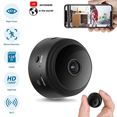 - Mini Spy Camera WiFi Hidden Camera ClickCam Wireless HD 1080P Indoor Home Small Spy Cam Security Camera/Nanny Cam Built-in Battery with Motion Detection/Night Vision for iPhone/Android/Tablet