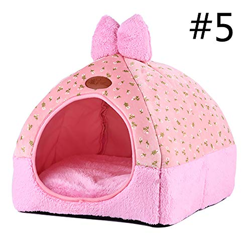 laamei Pets House Dog Bed Cat Cave Bed Tent Pet Igloo Foldable Bed with Lovely Bow for Cats Small Dogs Rabbits Or Toy Breed Dogs Medium Pink