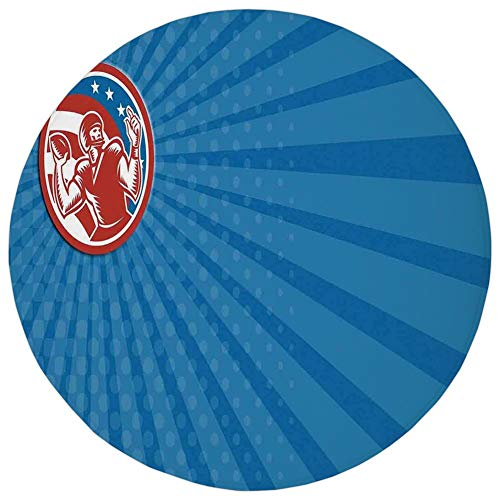 Round Rug Mat Carpet,Sports,Pop Art Gridiron Illustration with Old Fashioned Visual Properties Throwing Man Print,Blue Red,Flannel Microfiber Non-Slip Soft Absorbent,for Kitchen Floor Bathroom