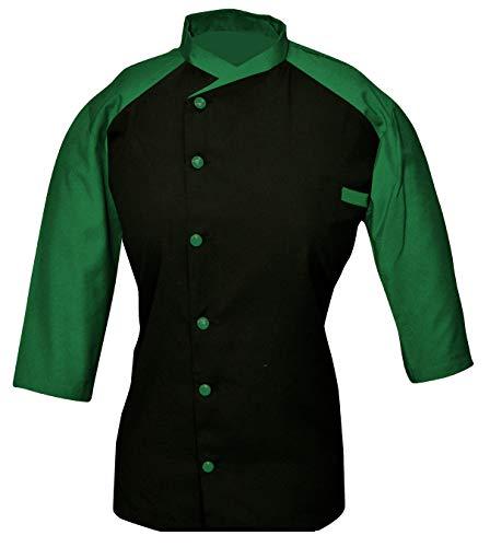 - Leorenzo Creation LM-69 Women's Chef Coat Black The Front Colour (Size- XL, Green Colour)
