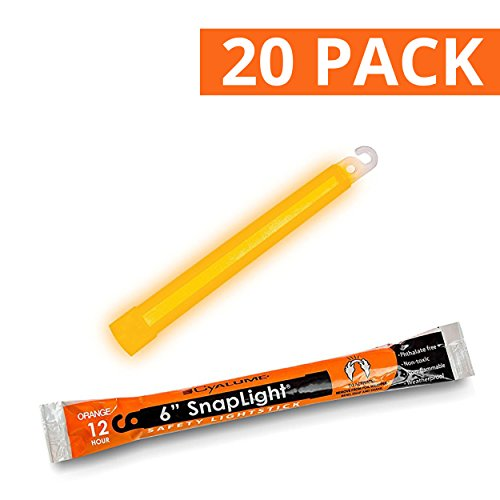 Cyalume SnapLight Orange Light Sticks – 6 Inch Industrial Grade, High Intensity Glow Sticks with 12 Hour Duration (Pack of 20)