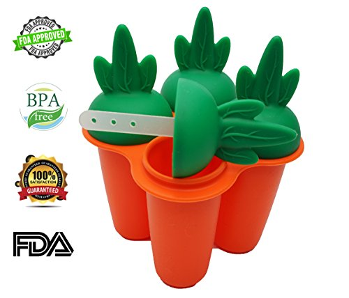 Bar Soap Wild Banana - Reusable Popsicle Molds Ice Pop Molds Maker Baby Kid Infant W/Drip Catcher Healthy Fruit Snack Food Grade Silicone BPA Free by Bambini Bear - Carrot Orange