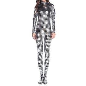 - 41UPfLycHhL - Ensnovo Womens Fish Scale Shiny Metallic Zentai Body Suit Costumes