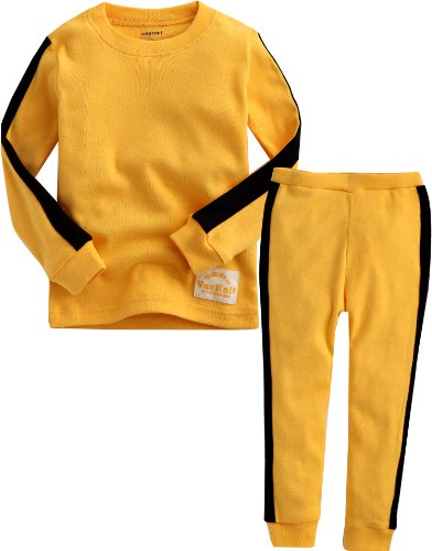 Vaenait baby 12M-7T Kids Boys Sleepwear Pajama 2pcs Set Kung Fu Yellow XL -