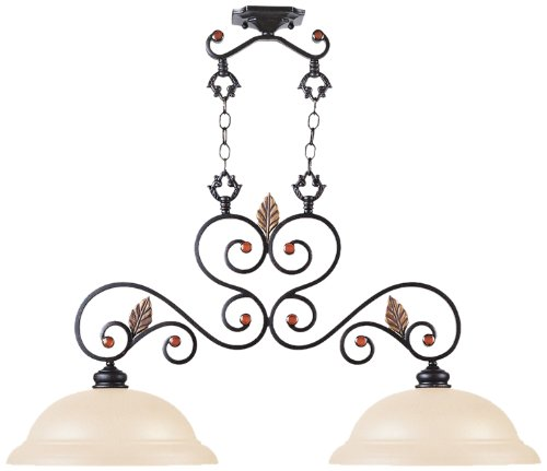 Livex Lighting 4422-56 Chandelier with Iridescent Art Glass and Amber Jewel Accents Shades, Copper Bronze with Aged Gold Leaves ()
