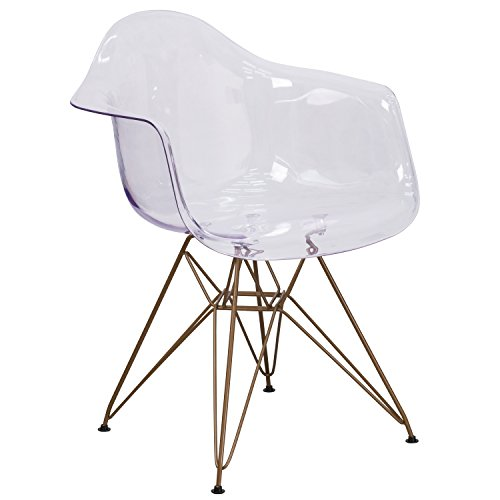 Flash Furniture Alonza Series Transparent Side Chair with Gold Base (Acrylic Rolling Chair)