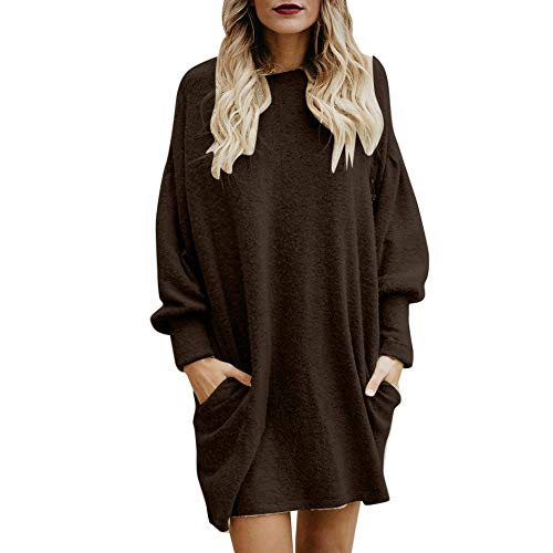 Clearance Women Tops Cinsanong Loose Shirt Solid O-Neck Long Sweater With Pocket Fashion Long Sleeve Casual Pullover (Coffee, XL)