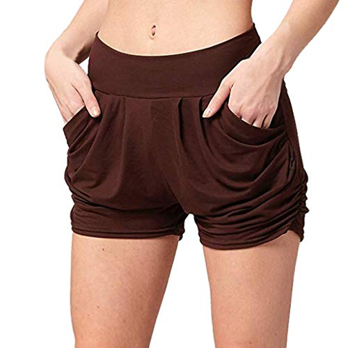 TOPUNDER Ultra Soft Pockets Shorts Women Summer High Waist Pleated Loose Casual Pants Brown