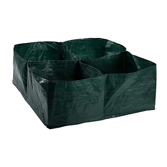 """Apipi raised garden planter fabric bed, 4 divided grids durable square planting grow pot for carrot onion herb flower… 1 made of eco-friendly polypropylene material, waterproof, heat and cold resisting(-94℉ to 320℉). 4 grids garden bed - this plastic planting garden bed has 4 divided grids, 11. 8""""(l)*11. 8""""(w)*9. 8""""(h) for each grid. There are some drain holes on bottom, helpful for planter growth. Great for seedling growing and planting - this raised garden bed is good for seedlings and planters growth, works with any material pot or planter. Cube square allows it to be placed on any flat surface, rooftop, patio, urban gardens, concrete, etc.."""