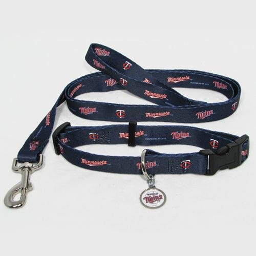 Hunter Manufacturing HUN-4100-14-4100 Minnesota Twins MLB Dog Collar & Leash Set