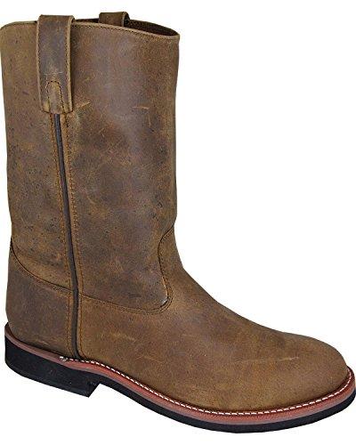 (Smoky Mountain Men's Wellington Cowboy Boot Round Toe, Brown Distress - 10.5 EE US)