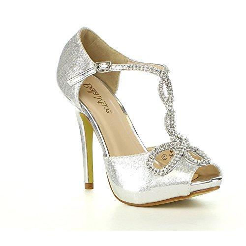 Bella Marie Donna Soho-10 Cinturino Alla Caviglia Con Cinturino Alla Caviglia Stile Décolleté In Argento