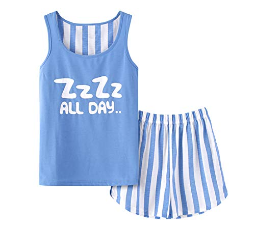Cute Big Girls Cotton Blue Nightgowns Soft Kids