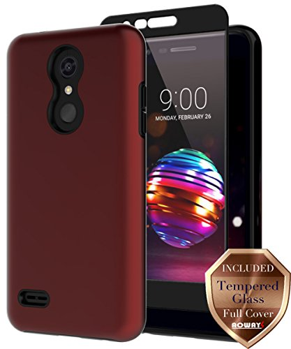 LG K30 Case, LG K10 2018 Case, LG Phoenix Plus Case, LG Premier Pro LTE Case with Aoways Tempered Glass Screen Protector, Hard Back Cover + Soft TPU Shockproof Inner Protective Case for LG K30 - Red