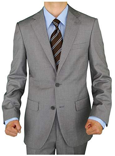 Tropical Wool Suits - GN GIORGIO NAPOLI Presidential Men's 2 Button Suit Separate Coat Blazer (42 Regular US / 52 Regular EU, Light Gray)