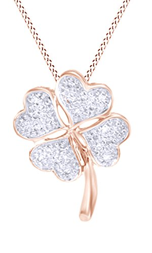 Jewel Zone US Natural Diamond Accent HeartShaped Clover Pendant in 10K Rose Gold (Diamond Accent Clover Pendant)
