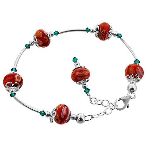 Millefiori Glass Beaded Bracelet - Gem Avenue 925 Sterling Silver Red