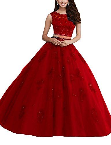 Pizzo Quinceanera Bessdress Abito Due Bd078 Di Ballo Prom Da Rosso Pezzi A Lunghe Strass Dresses EqaaRF7