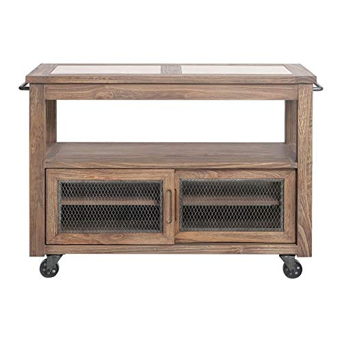Uttermost Farmhouse Kitchen Island in Ivory and Chestnut Gray