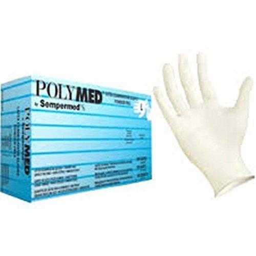 Polymed Powder Free Latex Exam Gloves Size Small 1 Case (100 per box) (10 Boxes per Case) FREE SHIPPING by Sempermed