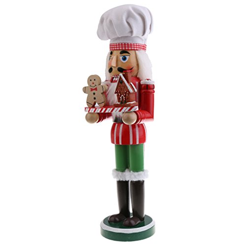 MonkeyJack Exquisite Christmas Hand Painted Wood Nutcracker Cook w/Tray Walnut Puppet Xmas Holiday Decorative 36cm