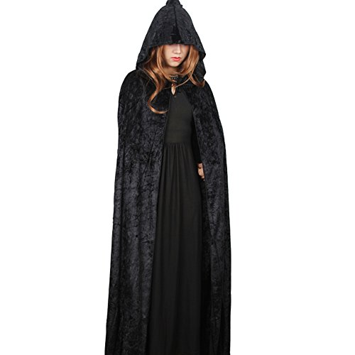 [Women's Halloween Full Length Crushed Velvet Hooded Cape Masquerade Cloak Costumes] (Cape Velvet Child Costumes)
