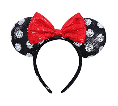 Minnie Mouse Headbands In Bulk (WLFY Mickey Mouse Minnie Mouse Sequin Ears Headbands Butterfly Glitter Hairband Girls Party Supplies (White dot black red)