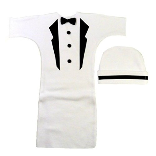 Jacqui's Baby Boys' White Tuxedo Bunting Gown with Black Lapels, 0-3 Months