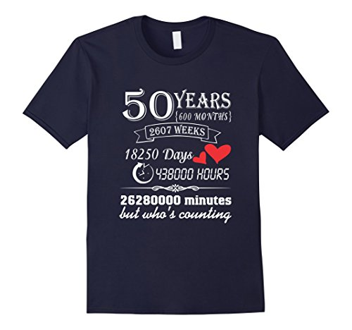 Mens Anniversary Gift 50th T-Shirt 50 Years Wedding Marriage Gift Large Navy