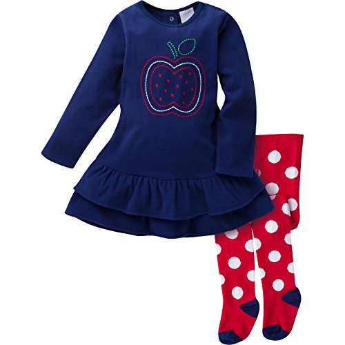 Gerber Girls' Micro Fleece Dress with Tights, Apple, 18 Months