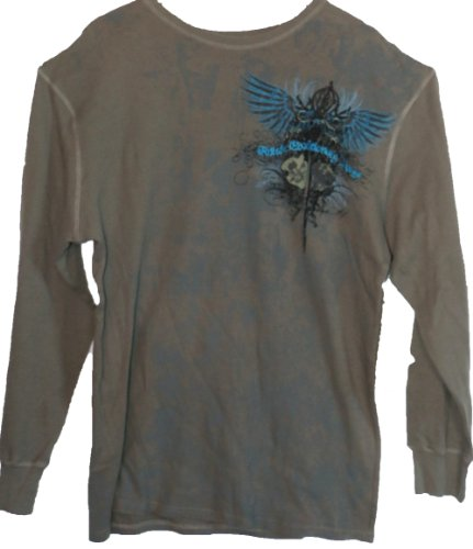 Edge Long Sleeve Thermal Shirt (Monarchy Los Angeles Ash Gray Thermal Long Sleeve Crew Neck Shirt -SWEET Turquoise Embroidery