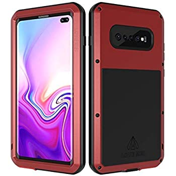 LOVE MEI Samsung Galaxy S10 Plus Case with Built in Glass Screen Protector Full Body Wireless Charging Sturdy Hard Cover heavy duty Shockproof Metal Silicone Rugged case for Samsung Galaxy S10 Plus