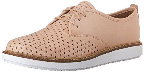 Clarks Dames Glick Resseta Oxford Nude Leather