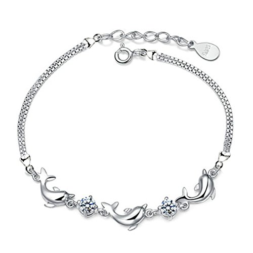 Aiuin women's adjustable dolphin bracelet with 5A cubic zirconia, bracelet jewellery for women and girls, great gift for Valentine's Day, birthday, wedding, etc.
