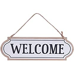 11.8x3.8 inches Wood Jute Rope Hanging Welcome Sign Plaque for Home Decor (White)