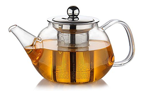 Premium Glass Teapot with Removable Stainless Steel Infuser that holds 34 oz