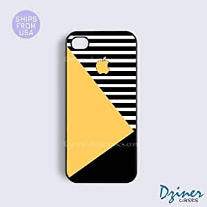 TYHde iPhone 5/5s Case - Yellow Black White Geometric iPhone Cover ending